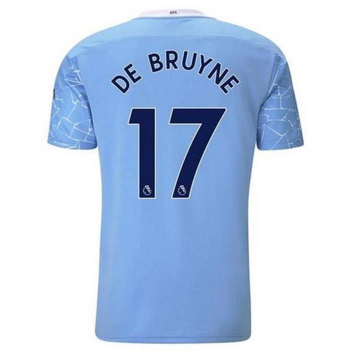 Nouveau Maillot Puma Enfant Manchester City Domicile Flocage Officiel De Bruyne Numéro 17 Saison 2020-2021