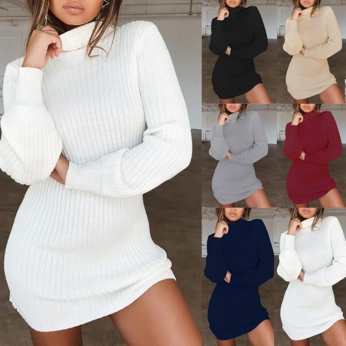 【PULL - CHANDAIL】Robe pull à col roulé à manches longues pour femmes xiao2376