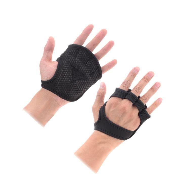 Gants de musculation ventilés Fitness Cross Training Gloves Antidérapant Palm Sleeve Idéal pour Ups (Black-M)