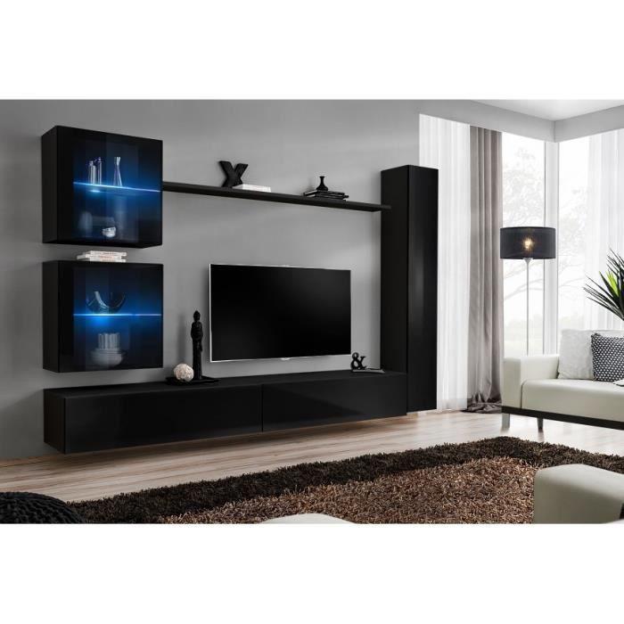 Ensemble meuble salon mural SWITCH XVIII design, coloris noir brillant. 40 Noir