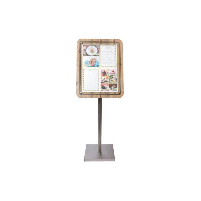 Porte-menu 4 A4 Glass Star aspect chêne Sans pied Bois