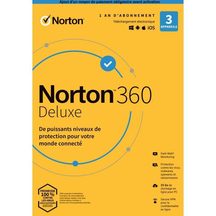 Antivirus Norton Security Deluxe 2019 | 1 An | 3 Appareils | Pc Mac Android Ios | [Téléchargement]