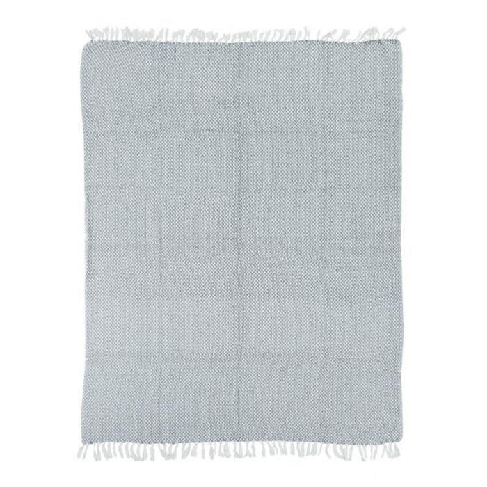 ESCAPADE - Plaid ethnique motif pixels blanc et gris 125x150