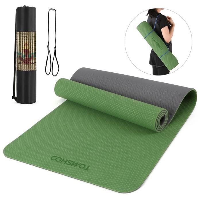 TOMSHOO 72.05 × 24.01in Portable Double Dual-colour Yoga Mat Thicken Sports Mat Tapis d'exercice antidérapant pour les entraînem-662