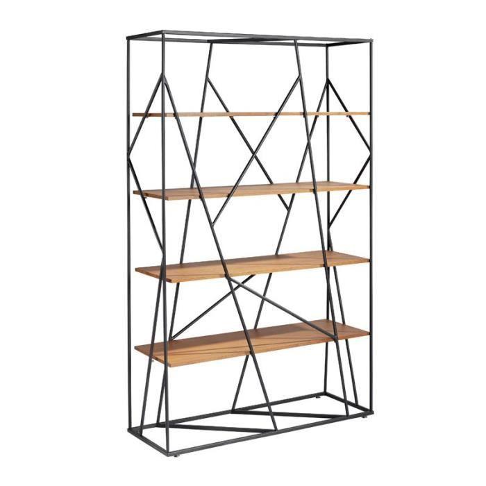 Bibliothèque Noyer/Noir mat - LODON - L 110 x l 40 x H 180