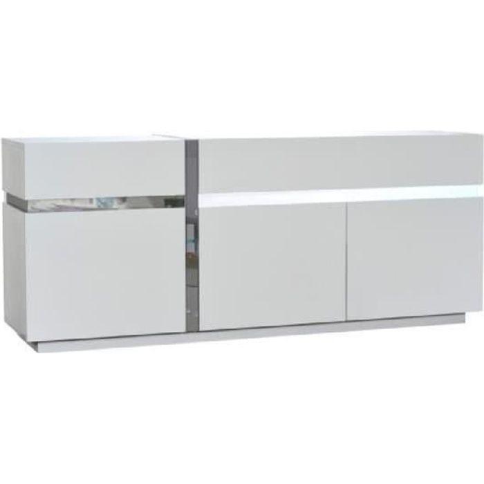 LINEANCE Bahut 200 cm avec éclairage LED laqué blanc