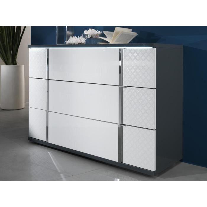 Commode CONSCIENCE - 3 tiroirs - Avec LEDs - Laqué blanc et gris