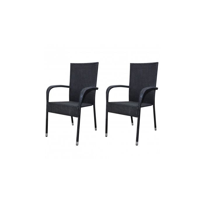 2 chaises noires en rotin pour table manger achat vente chaise noir cdiscount. Black Bedroom Furniture Sets. Home Design Ideas