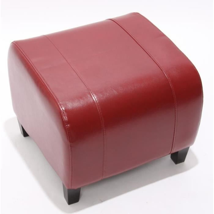 pouf tabouret repose pieds cuir 37x45x47 cm rouge achat vente pouf poire cdiscount. Black Bedroom Furniture Sets. Home Design Ideas