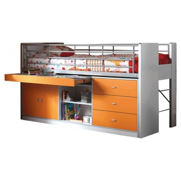lit enfant bureau r tractable laqu orange bonny achat vente lit combine soldes d t. Black Bedroom Furniture Sets. Home Design Ideas