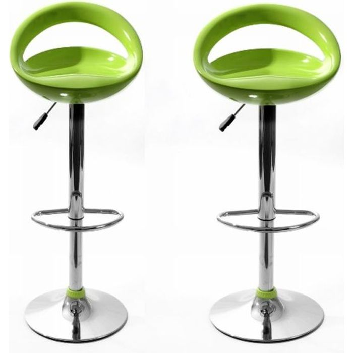 tabourets de bar snack vert lot de 2 achat vente tabouret de bar abs cdiscount. Black Bedroom Furniture Sets. Home Design Ideas