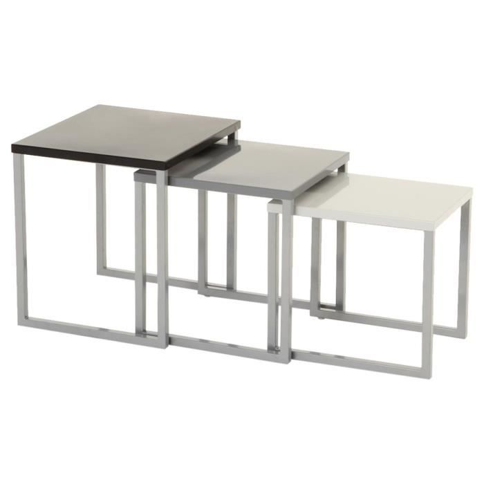 Lot de 3 tables gigognes int rieure et ext rieure gris for Table de 7 et 8