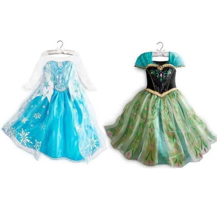 deux robe princesse elsa et anna reine des neiges d guisement bleu vert bleu achat vente. Black Bedroom Furniture Sets. Home Design Ideas