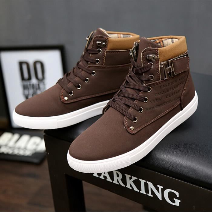 chaussures montantes mode chaussure homme basket homme skate shoes marron marron achat vente. Black Bedroom Furniture Sets. Home Design Ideas