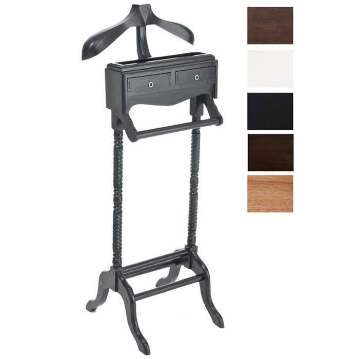 CLP Valet de chambre LORD en bois d\'acajou, valet de nuit, porte-vêtement  avec 2 tiroirs et 1 surface de rangement, dimensions: 45