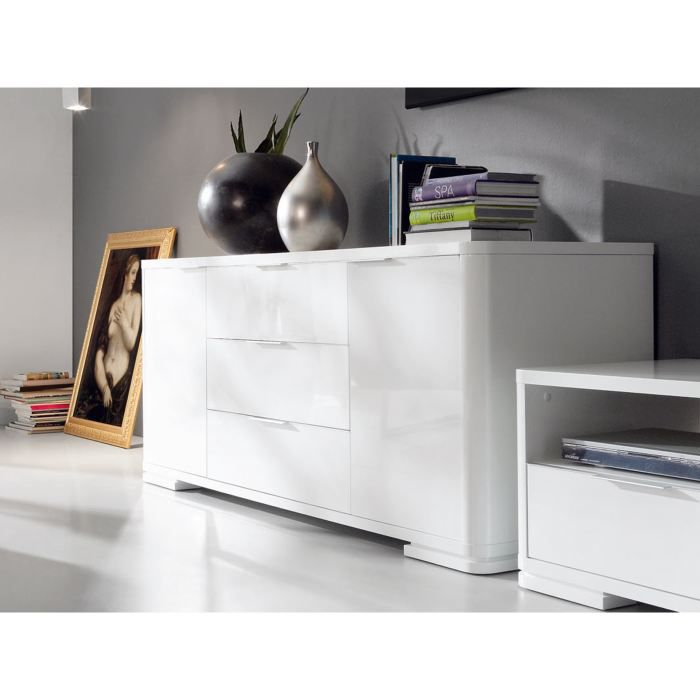 buffet moderne laqu blanc anabel 22 achat vente. Black Bedroom Furniture Sets. Home Design Ideas