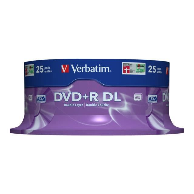 CD DVD VIERGE VERBATIM 25 x DVD R DL 8.5 Go 8x spindle