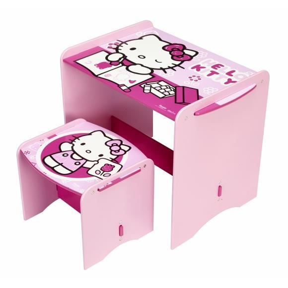 Bureau pupitre table avec tabouret hello kitty achat for Bureau hello kitty