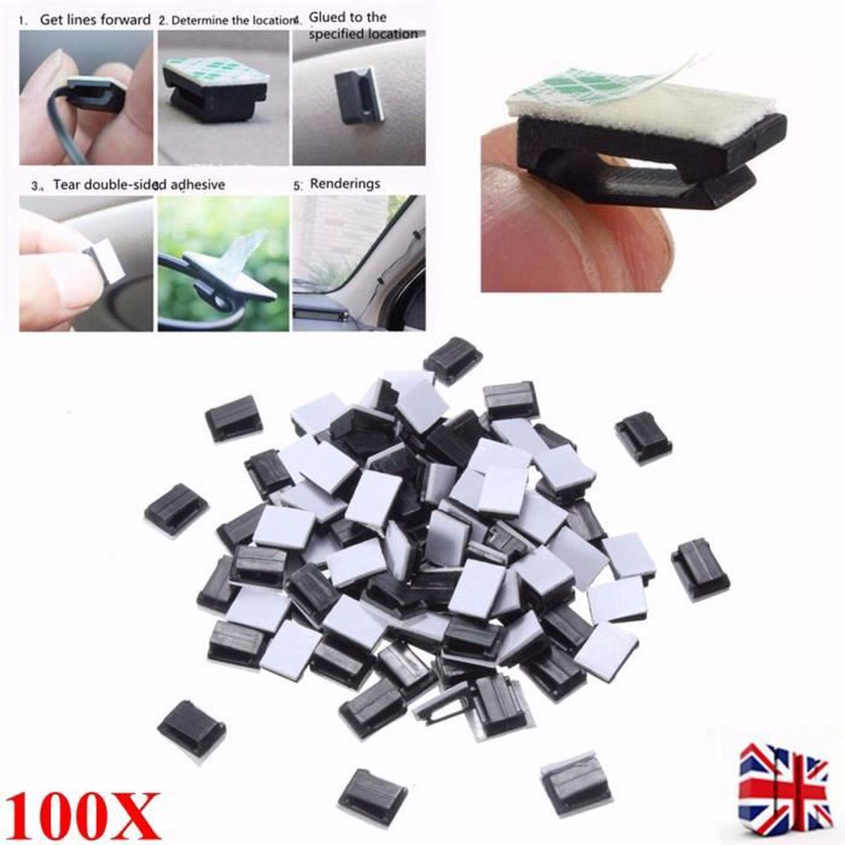 Câble Clips Noir Autocollant pour Câble /< 6mm diamètre 20 pcs