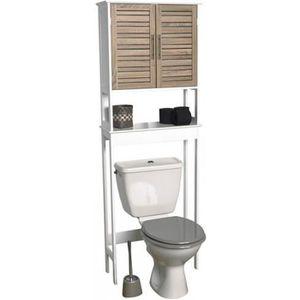 MEUBLE BAS COMMODE SDB Meuble dessus WC tablette + étagère - Chêne vie...