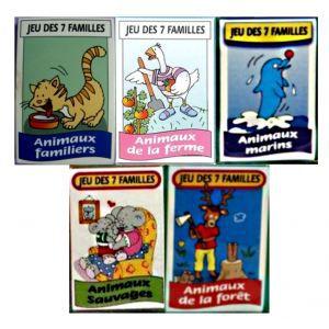 CARTES DE JEU LOT 10 JEUX DE 7 FAMILLES ANIMAUX