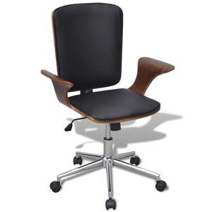 CHAISE DE BUREAU Chaise de bureau rotative en bois cintré avec revê