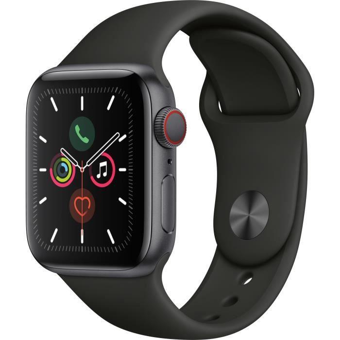 Apple Watch Series 5 Cellular 40 mm Boîtier en Aluminium Gris Sidéral avec Bracelet Sport Noir - S/M