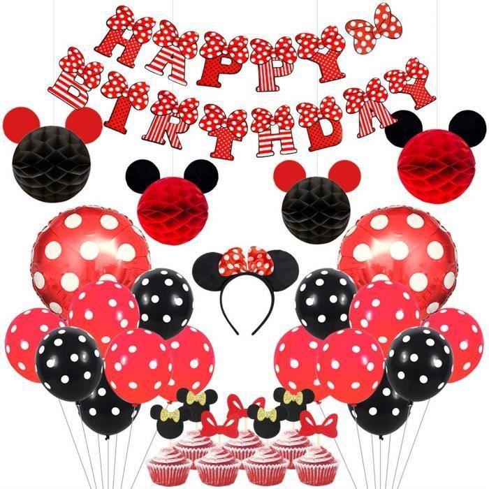 Kreatwow Mickey et Minnie Party Supplies Oreilles Rouge et Noir Bandeau Joyeux Anniversaire Bannière Polka Dot Ballons Ensem 2199