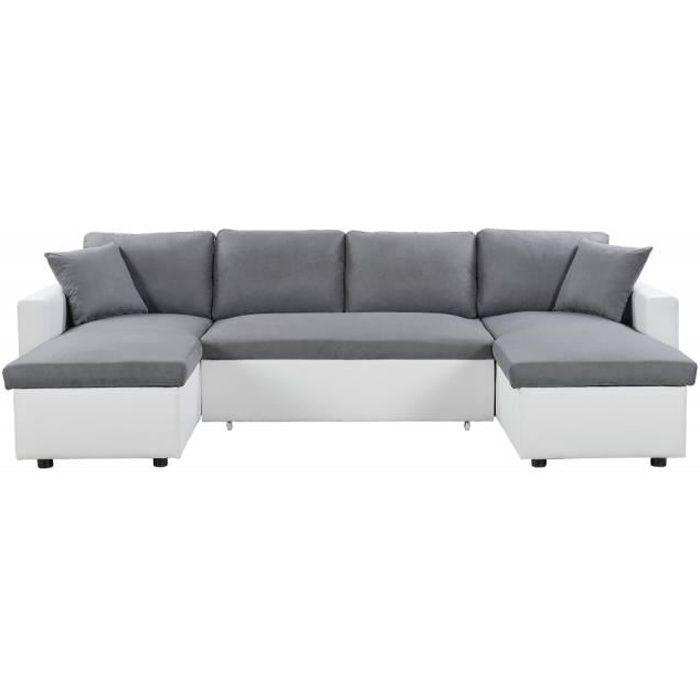 Canapé d'Angle Panoramique MARIA Convertible Blanc-Gris