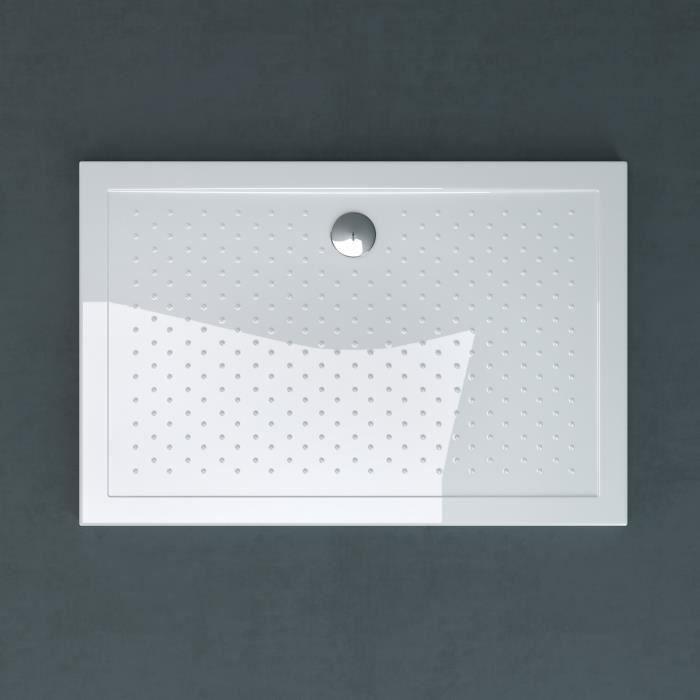 Receveur de douche bac à douche Sogood Lucia04AR acrylique anti-glisse blanc plat rectangulaire 80x120x4cm avec bonde AL02
