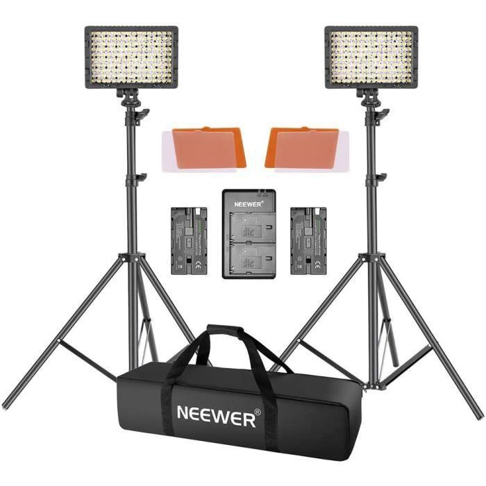 Eclairage pour studio photo Neewer Panneau LED 160 Lumière Vidéo, Lot de 2 Torches LED avec Pied 190cm pour Appareil Pho 3192