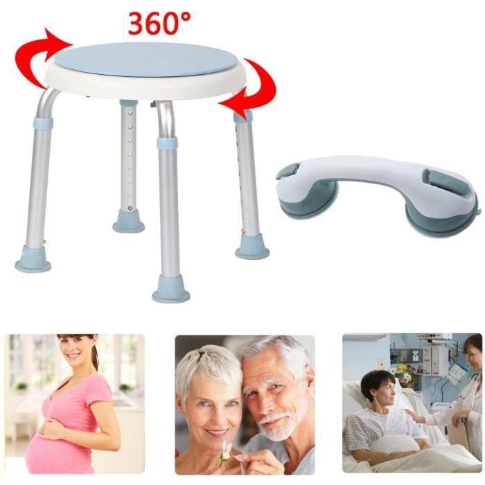 Tabouret de douche rglable en hauteur avec forte Ventouse support Poigne pour salle de bain douche chaise poigne de maintien[362]