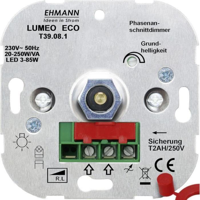 Variateur encastré Adapté pour: Lampe à économie d'énergie, Lampe LED, Lampe halogène, Ampoule électrique