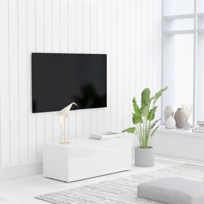 MAGIC Meuble TV Blanc brillant 80x34x30 cm Aggloméré