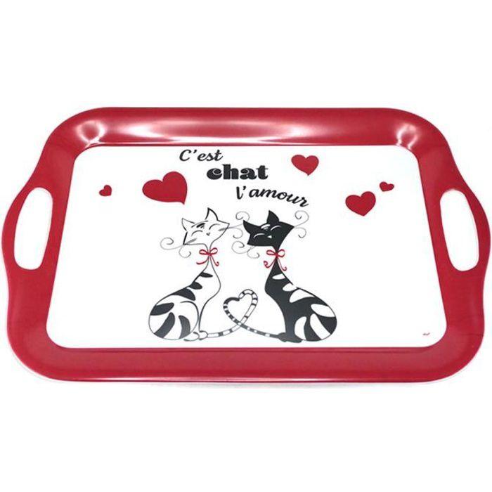 Grand plateau mélamine 'Chats' rouge noir blanc - 41x28 cm (C'est Chat l'amour) [A2557]