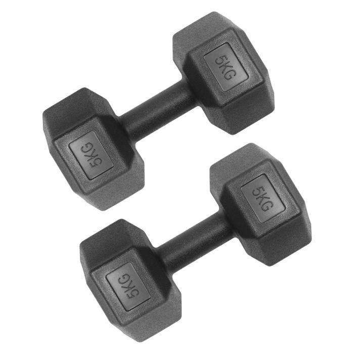 Haltères hexagonales Black Home Gym Fitness Equipment Arm Muscles Training 5KG