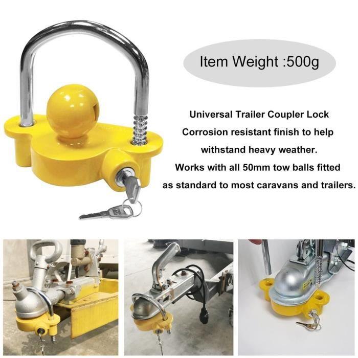 attache de remorque accessoires de remorque boule de remorquage universelle jaune sécurité antivol