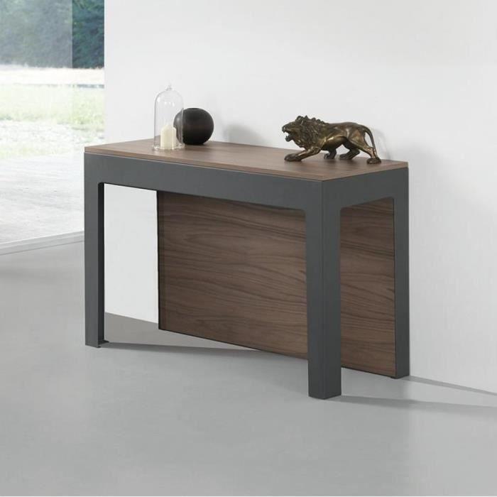 Table console extensible Design ODYSSE avec rallonges intégrées Noyer/Structure Gris Ardoise marron Bois Inside75