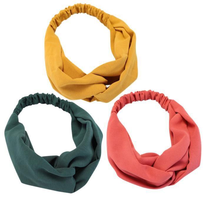3pcs Head Wraps Élastique Accessoire Band Wrap pour Femme Fille BANDEAU - SERRE-TETE - HEADBAND - HAIRBAND
