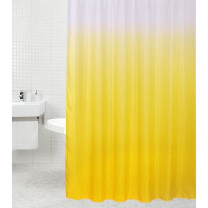 Rideau de douche Jaune 180 x 180 cm - de haute qualité - 12 anneaux inclus - imperméable - effet anti-moisissures