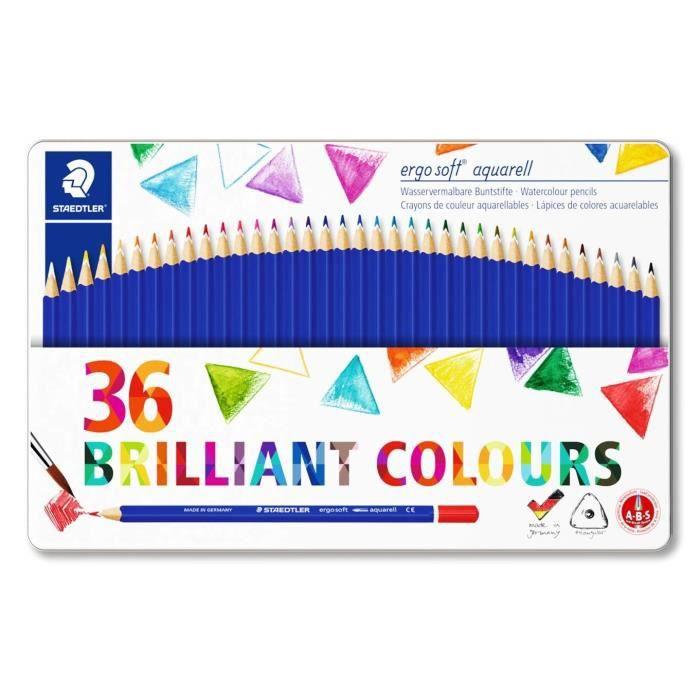 ergosoft® aquarell 156 - Boîte métal 36 crayons de couleur triangulaires aquarellables assortis