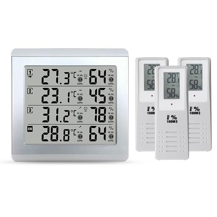 TEMPSA Thermo-hygromètre - Hygromètre à Thermomètre numérique LCD + 3 capteurs intérieur extérieur température alarme humidité