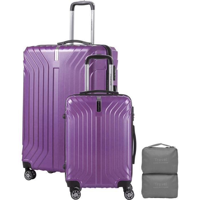 TRAVEL WORLD Ensemble de de Valises 55/75cm avec 2 trousses de toilettes - Couleur Violet