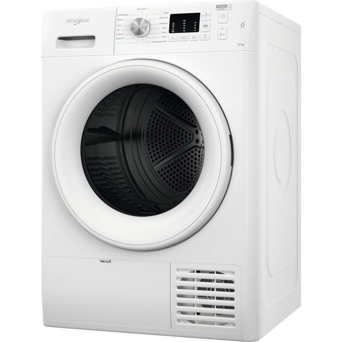 Sèche-linge pompe à chaleur WHIRLPOOL FFTM1081FR FreshCare - 8 kg - Classe A+ - Blanc