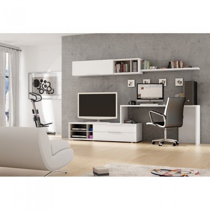 meuble mural tv bureau office couleur blanc m achat vente meuble tv meuble mural tv. Black Bedroom Furniture Sets. Home Design Ideas