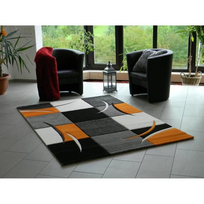 tapis design pour salon orange 120 x 170 cm achat vente tapis cdiscount. Black Bedroom Furniture Sets. Home Design Ideas