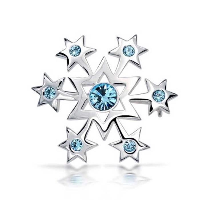 Bling Jewelry cristal bleu Argent Sterling Star poli flocon Broche Broche