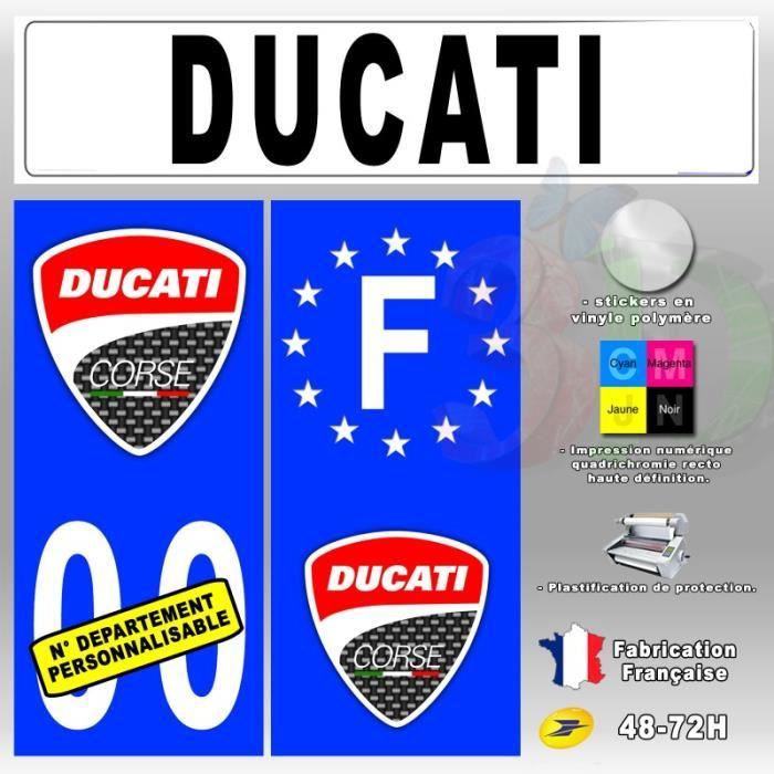 stickers plaque d 39 immatriculation 39 ducati corse 3 39 auto moto fond bleu 67x30 mm moto achat. Black Bedroom Furniture Sets. Home Design Ideas