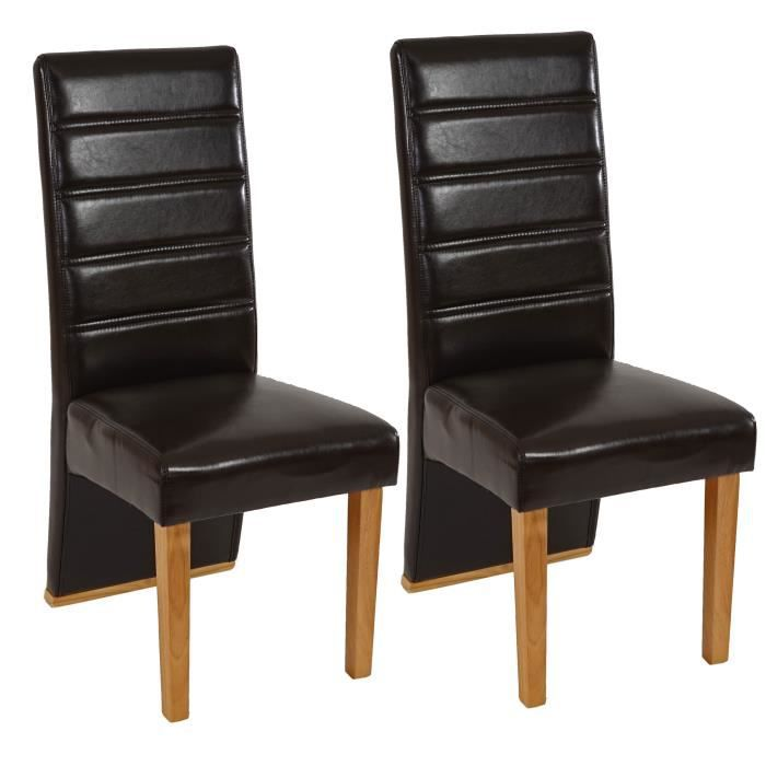 lot de 2 chaises de salle manger marron achat vente. Black Bedroom Furniture Sets. Home Design Ideas