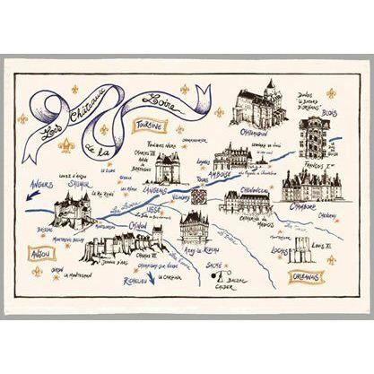 Torchon Idee Cadeau Carte Des Chateaux De La Loire Achat Vente Torchon Essuie Main Bientot Le Black Friday Cdiscount